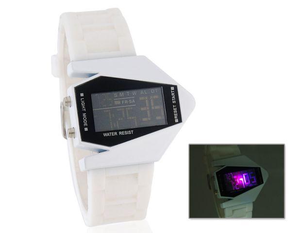 LED hodinky Silicone Strap bílé 74a0233a669